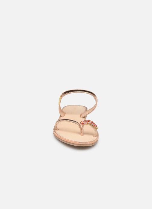 Mules et sabots Les Tropéziennes par M Belarbi OLWEN Or et bronze vue portées chaussures