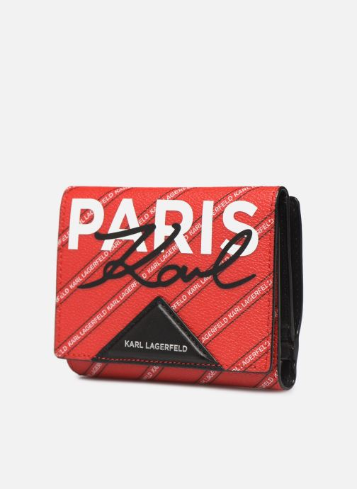 Petite Maroquinerie Karl Lagerfeld k/city medium wallet paris Rouge vue portées chaussures