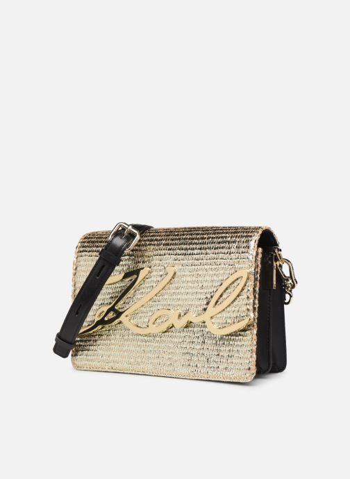 Handtassen Karl Lagerfeld k/signature raffia shoulderbag Goud en brons model