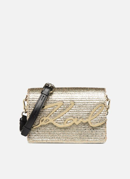Handtassen Karl Lagerfeld k/signature raffia shoulderbag Goud en brons detail