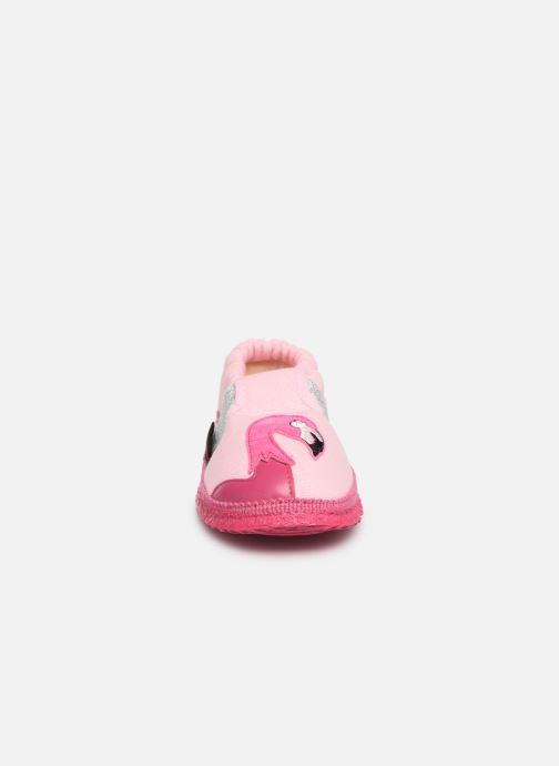 Chaussons Giesswein Alkersum Rose vue portées chaussures