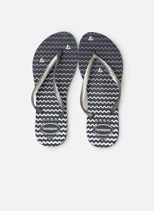 Tongs Havaianas Slim Oceano Bleu vue portées chaussures