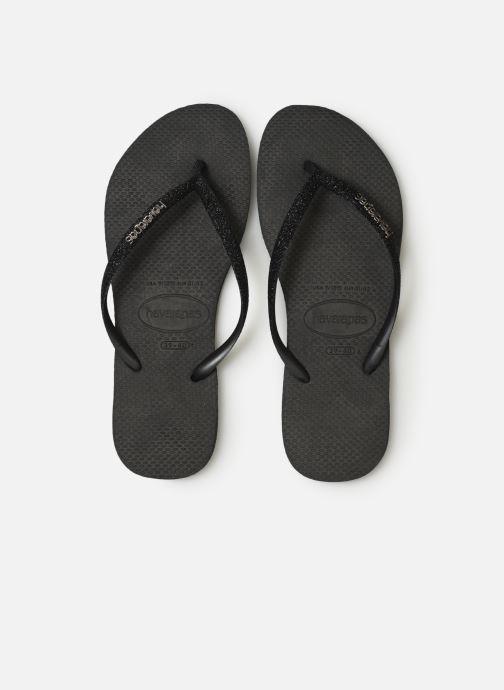 Tongs Havaianas Slim Glitter Noir vue portées chaussures