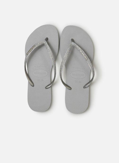 Tongs Havaianas Slim Glitter Argent vue portées chaussures