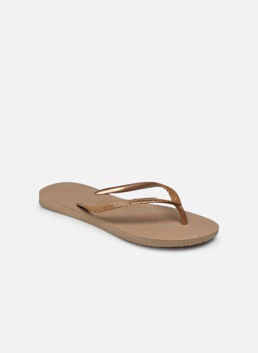 Tongs Havaianas Slim Glitter Or et bronze vue portées chaussures