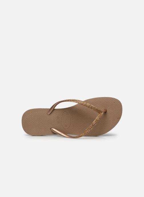 Tongs Havaianas Slim Glitter Or et bronze vue gauche