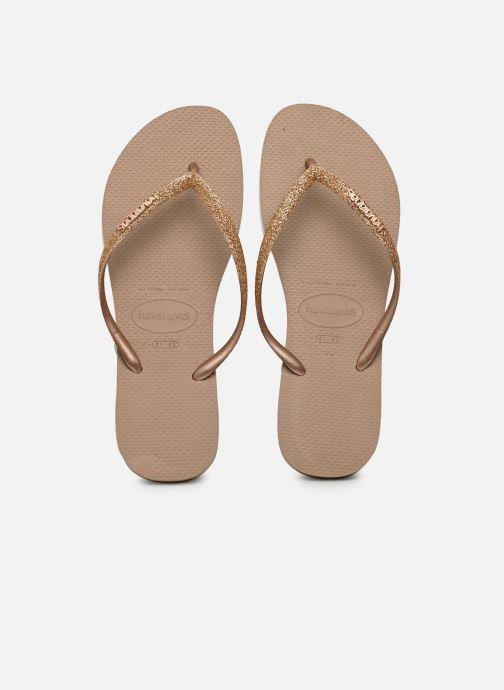 Tongs Havaianas Slim Glitter Or et bronze vue détail/paire