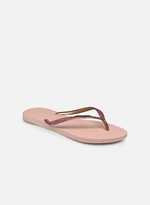 Tongs Havaianas Slim Glitter Rose vue portées chaussures