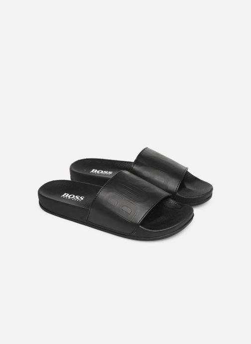 Sandales et nu-pieds BOSS Claquette Logo J29171 Noir vue 3/4