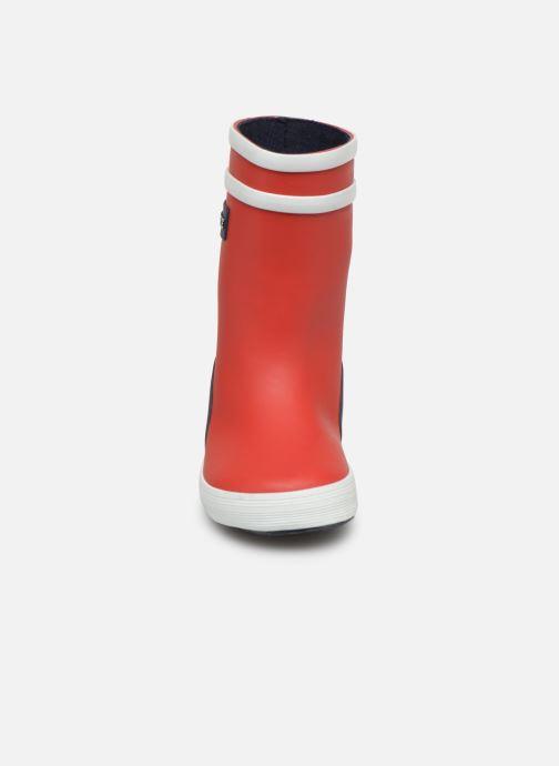 Stivali Aigle Baby Flac Color Block Rosso modello indossato