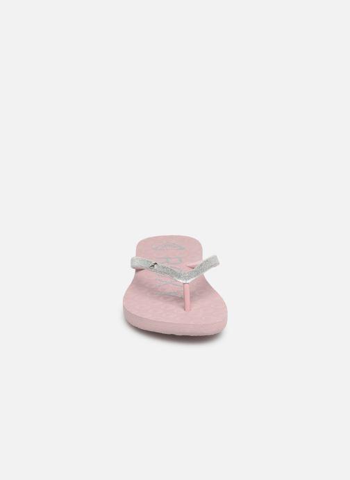 Tongs Roxy Rd Viva Glitter II Rose vue portées chaussures