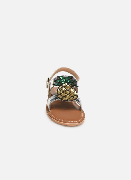 Sandali e scarpe aperte Colors of California Leather Sandal With Ananas Accessorize Argento modello indossato