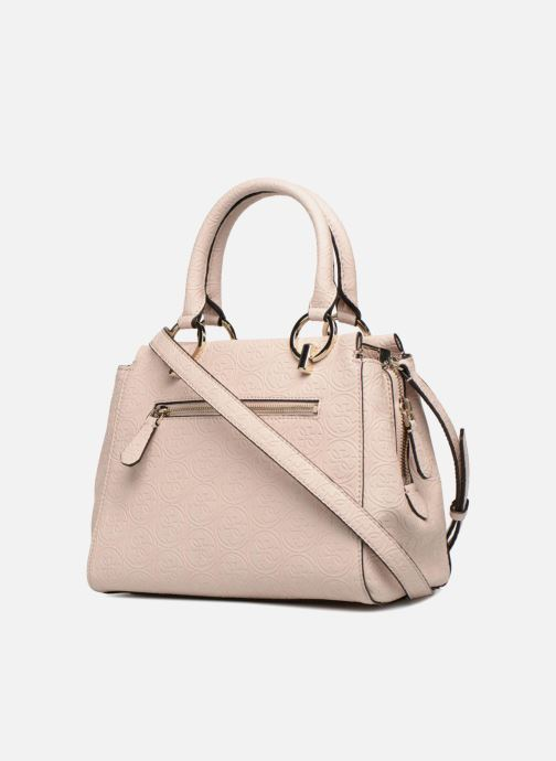 Sacs à main Guess HERITAGE GIRLFRIEND SATCHEL Rose vue droite