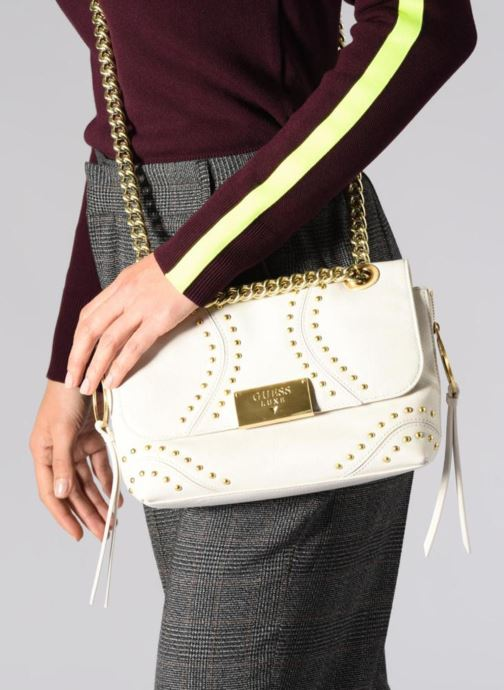 Guess GUESS LUXE VICKY LEATHER CROSSBODY FLAP (Blanc) Sacs