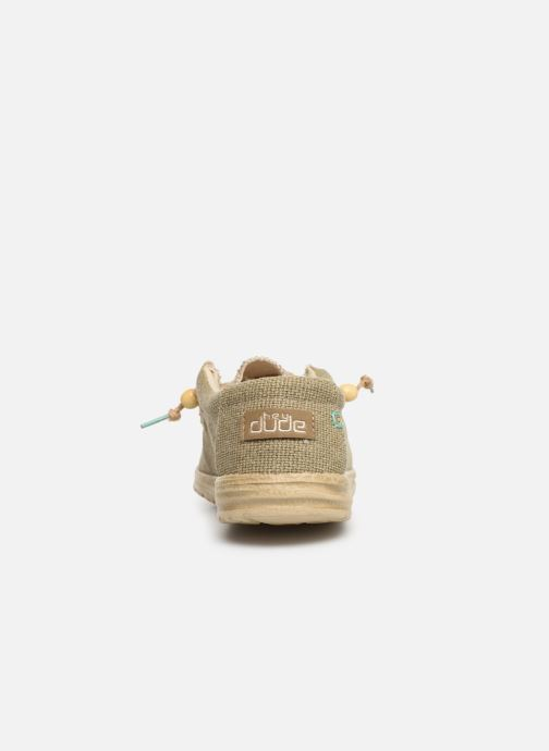 Baskets DUDE Wally Natural Vert vue droite