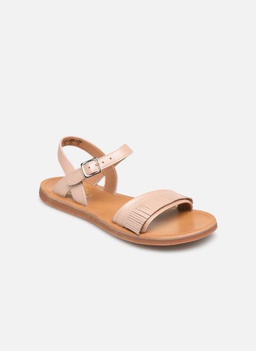 Sandales et nu-pieds Pom d Api Plagette Fringes Rose vue détail/paire