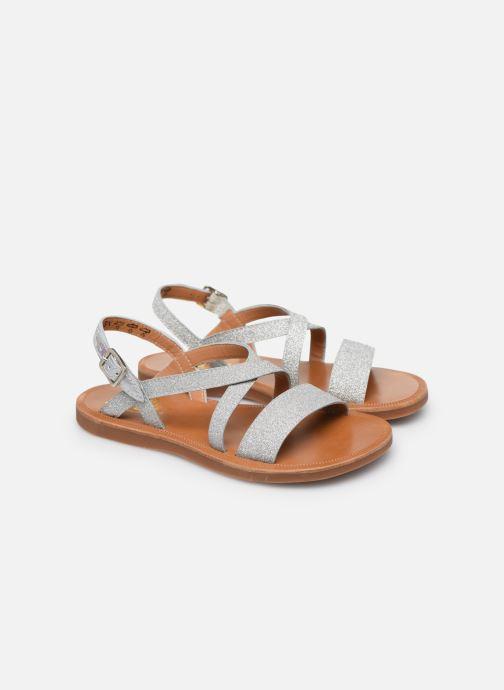 Sandales et nu-pieds Pom d Api Plagette Lagon Argent vue 3/4