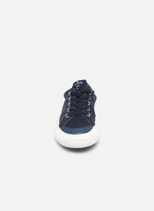 Sneakers Victoria Deportivo Glitter Fino 2 Azzurro modello indossato