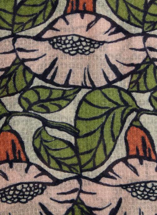 Scarf Monoprix Femme FOULARD LAINE IMPRIME FLEURS ROSE Green front view b868c8c3520