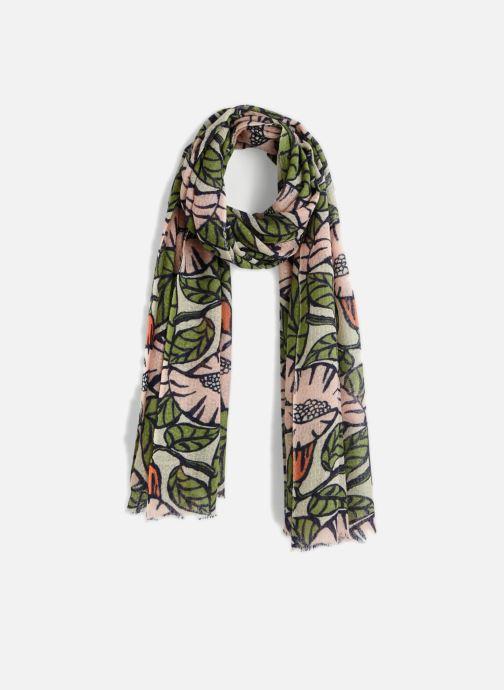 Echarpes et Foulards Monoprix Femme FOULARD LAINE IMPRIME FLEURS ROSE Vert  vue détail paire d42a14ec948