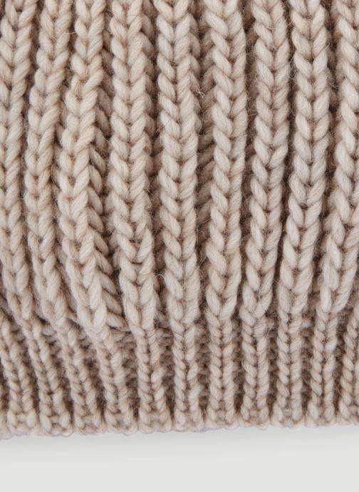 Bonnets Monoprix Femme BONNET TRICOT MAILLE UNI Beige vue portées chaussures