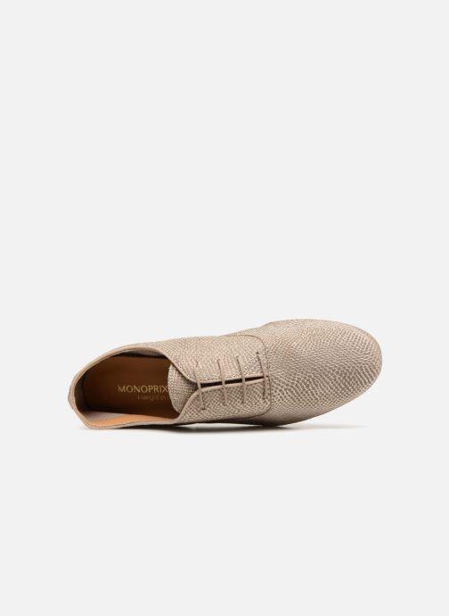Chaussures à lacets Monoprix Femme Derbies en cuir Or et bronze vue gauche