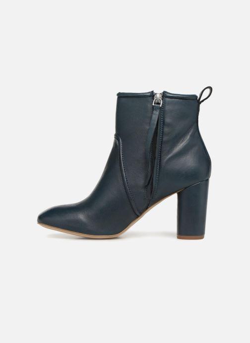 Bottines et boots Monoprix Femme BOTTINE CUIR TALON ROND Bleu vue face