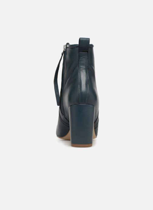 Bottines et boots Monoprix Femme BOTTINE CUIR TALON ROND Bleu vue droite