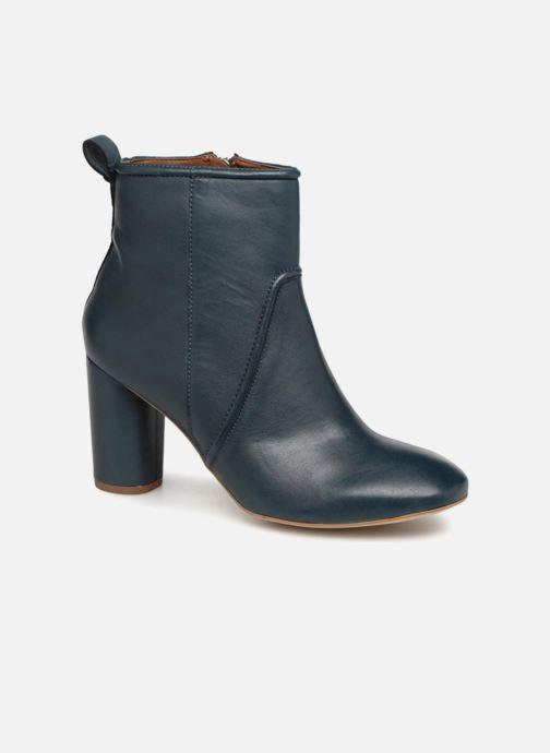 Bottines et boots Monoprix Femme BOTTINE CUIR TALON ROND Bleu vue détail/paire