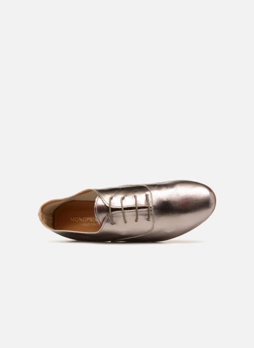 Scarpe con lacci Monoprix Femme Derby en cuir lisse Argento immagine sinistra