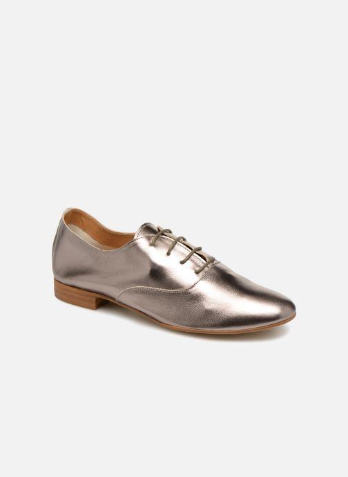 Chaussures à lacets Monoprix Femme Derby en cuir lisse Argent vue détail/paire