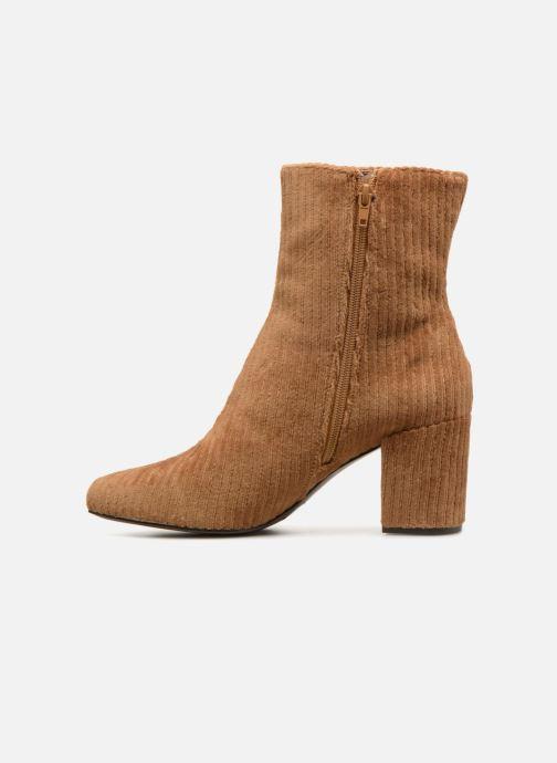 Ankle boots Monoprix Femme BOTTINE TALON VELOURS Brown front view