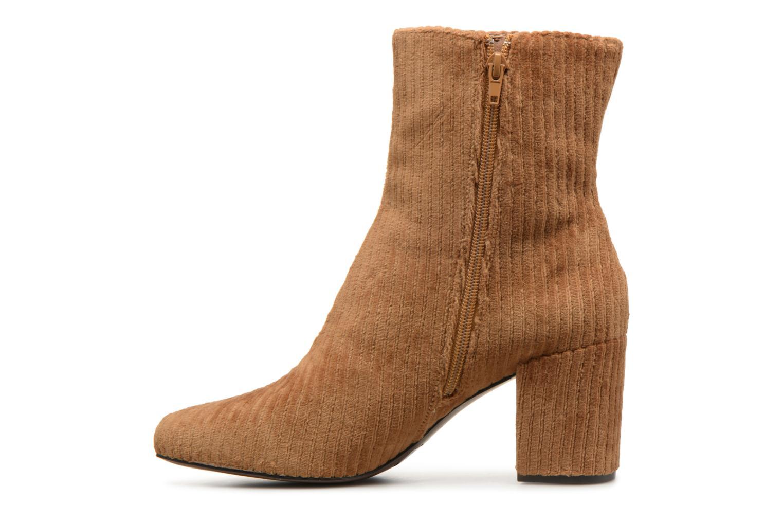 Bottines et boots Monoprix Femme BOTTINE TALON VELOURS Marron vue face