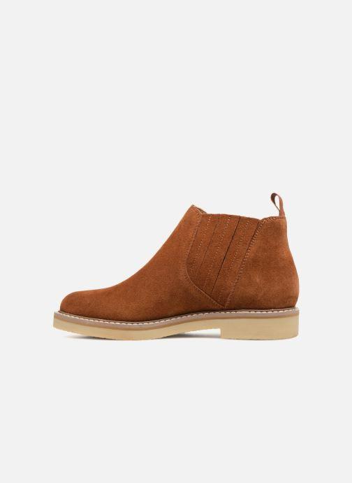 Ankle boots Monoprix Femme CHELSEA CROUTE CUIR Brown front view