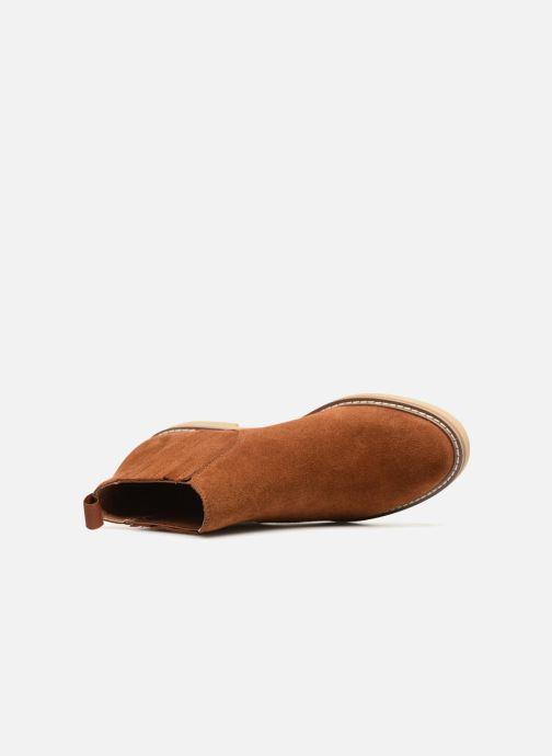 Bottines et boots Monoprix Femme CHELSEA CROUTE CUIR Marron vue gauche