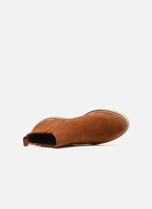 Ankle boots Monoprix Femme CHELSEA CROUTE CUIR Brown view from the left