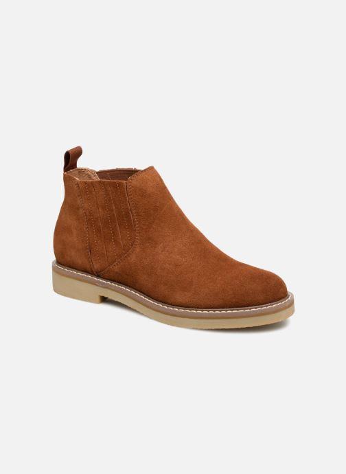 Bottines et boots Monoprix Femme CHELSEA CROUTE CUIR Marron vue détail/paire