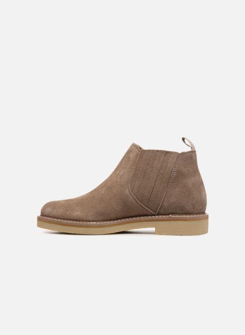 Ankle boots Monoprix Femme CHELSEA CROUTE CUIR Beige front view