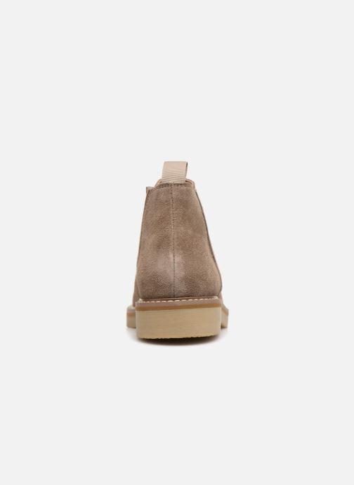 Bottines et boots Monoprix Femme CHELSEA CROUTE CUIR Beige vue droite