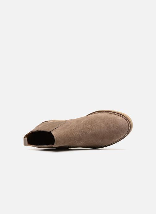 Bottines et boots Monoprix Femme CHELSEA CROUTE CUIR Beige vue gauche