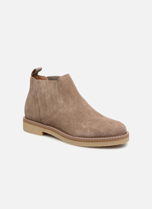 Bottines et boots Monoprix Femme CHELSEA CROUTE CUIR Beige vue détail/paire
