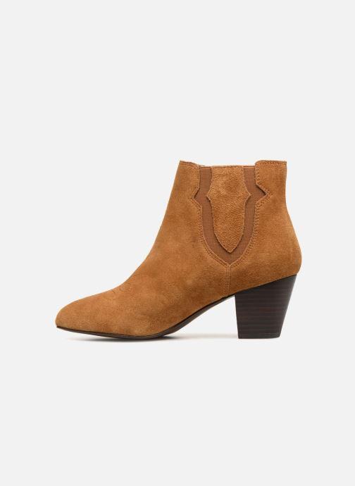 Bottines et boots Monoprix Femme BOTTINES CROUTE CUIR SURPIQURE Marron vue face