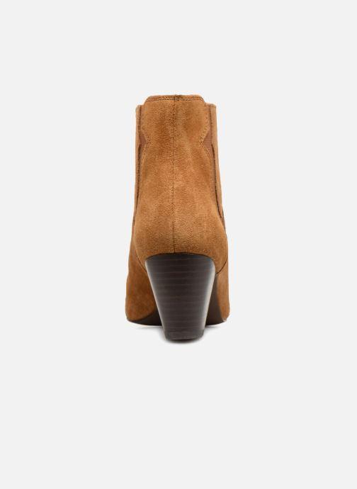 Bottines et boots Monoprix Femme BOTTINES CROUTE CUIR SURPIQURE Marron vue droite