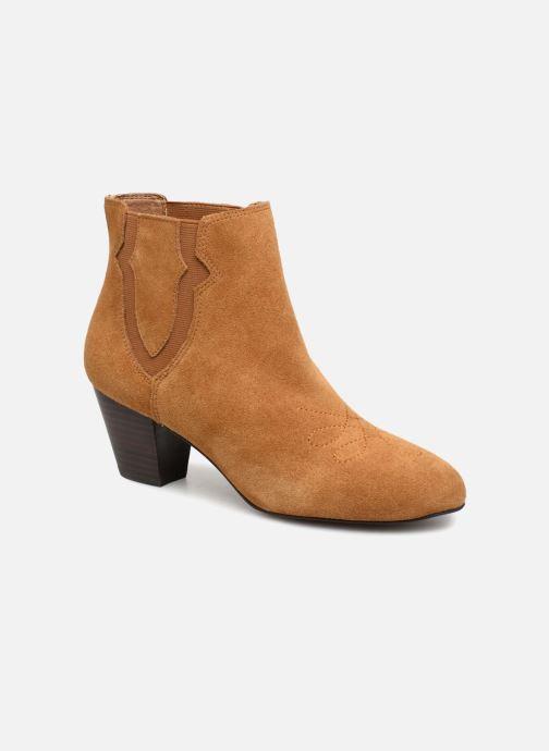 Bottines et boots Monoprix Femme BOTTINES CROUTE CUIR SURPIQURE Marron vue détail/paire