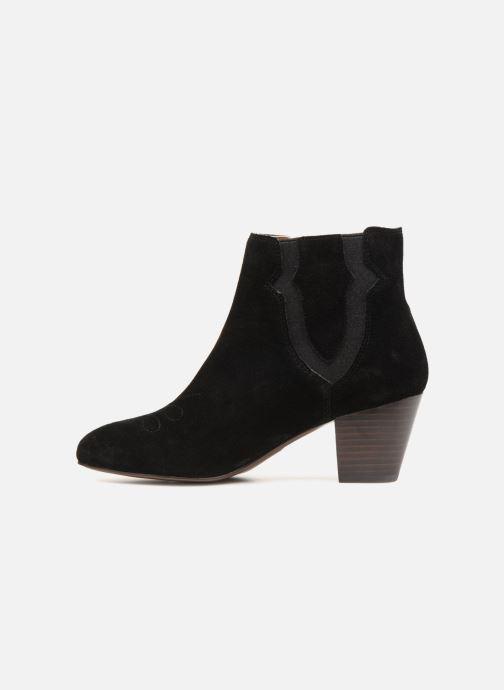 Bottines et boots Monoprix Femme BOTTINES CROUTE CUIR SURPIQURE Noir vue face