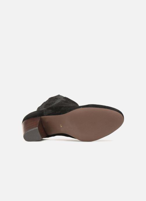 Bottines et boots Monoprix Femme BOTTINES CROUTE CUIR SURPIQURE Noir vue haut