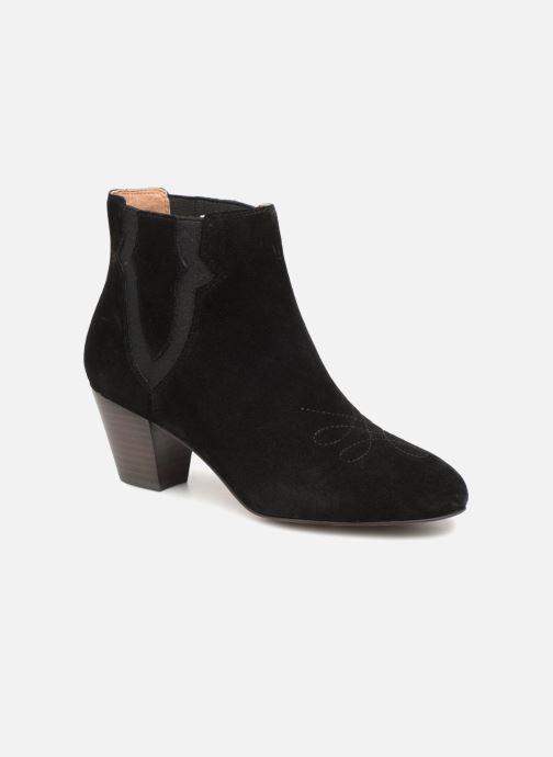 Ankle boots Monoprix Femme BOTTINES CROUTE CUIR SURPIQURE Black detailed view/ Pair view