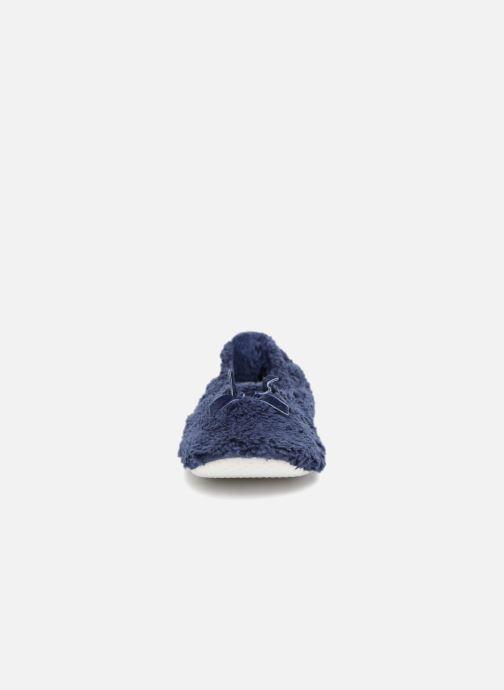 Chaussons Monoprix Femme Ballerine doudou Bleu vue portées chaussures