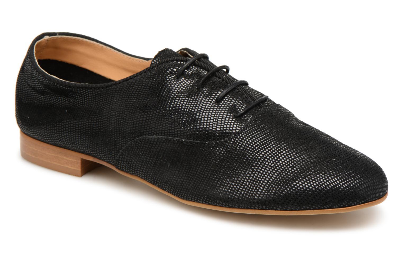 Chaussures à lacets Monoprix Premium Derby en cuir Noir vue détail/paire