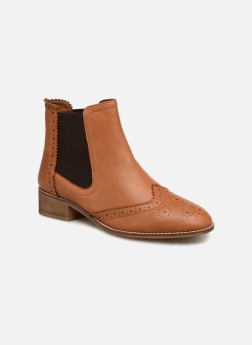 Ankelstøvler Monoprix Premium BOOTS CUIR BOUT FLEURI Brun detaljeret billede af skoene